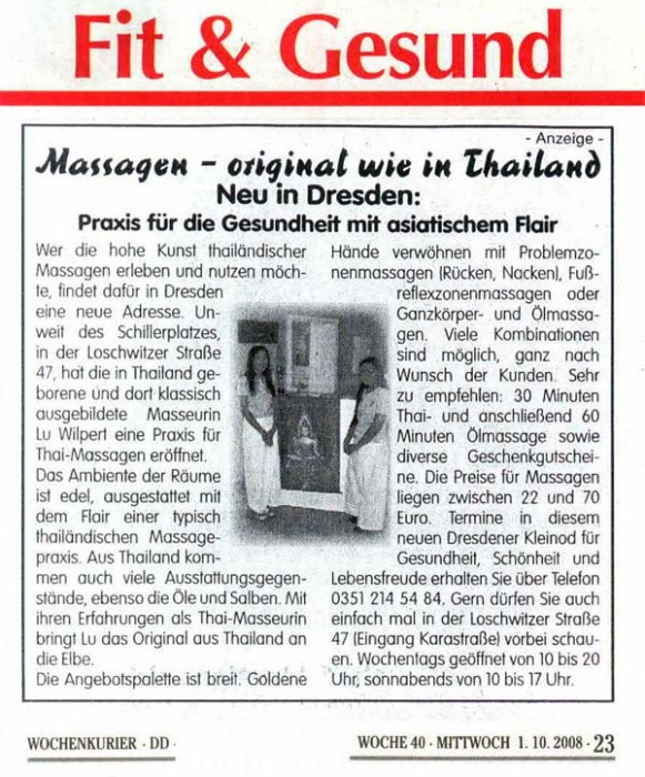 Presse | Thai Massagen Dresden